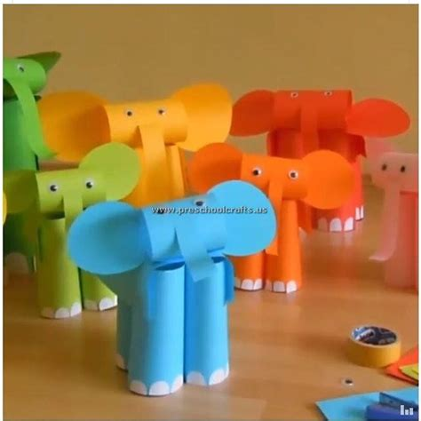 Paper Craft Elephant - elephant craft paper craft preschool crafts