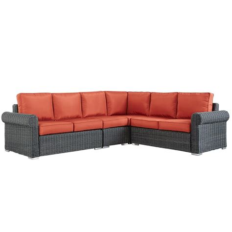 red outdoor sectional homesullivan camari charcoal rolled arm wicker outdoor
