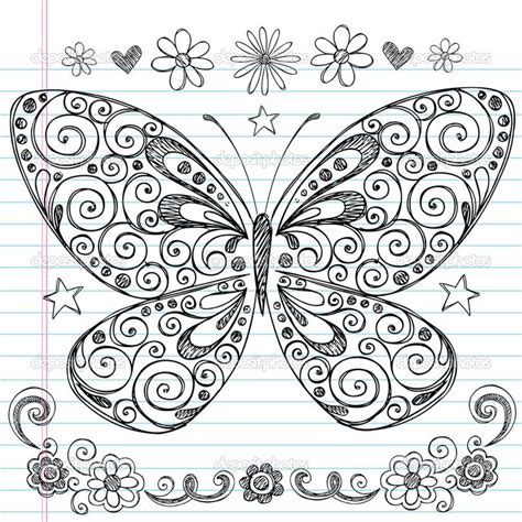 notebook doodle pattern easy doodle designs sketchy hand drawn butterfly