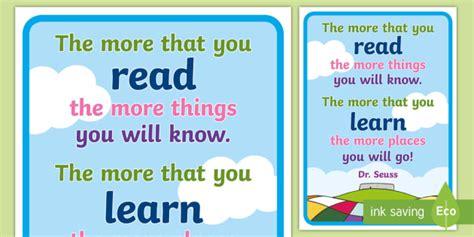 Dr Seuss Reading Quotes Poster   dr seuss, dr seuss poster, dr