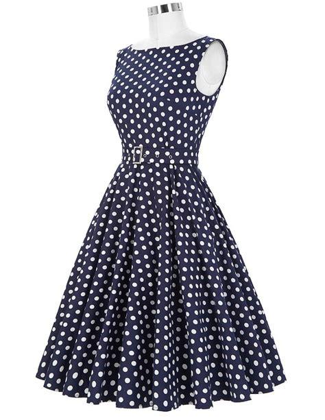 Dress Polka White Blue the classic blue polka dot dress 1950sglam