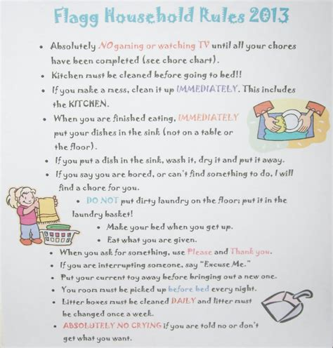 house rules chart template images templates design ideas