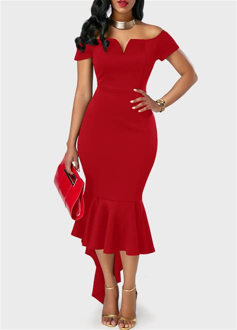 Dress Blackred 16083 The Shoulder Asymmetric Hem Sheath Dress Rosewe