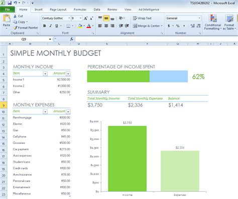 Simple Monthly Budget Spreadsheet For Excel 2013 Easy Budget Spreadsheet Template Free