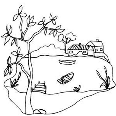 House Near Lake Coloring Page Lake Coloring Page