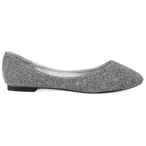 silver flat shoes new womens silver shimmer glitter pointed ballerina