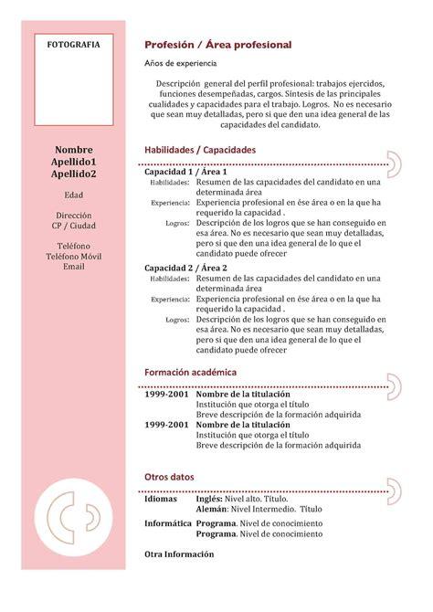 Modelo Curriculum Vitae Habilidades Curr 237 Culum Cl 225 Sico Granate Modelo Curriculum