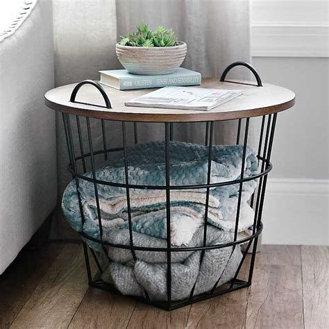 wire and wood basket side table industrial wire and wood basket side table kirklands