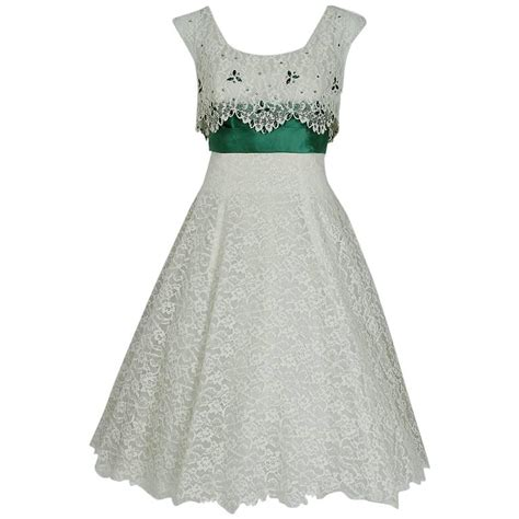 Peggy Dress White By Lookboutiquestore 1 1950 s peggy hunt white lace and green satin rhinestone