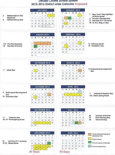 Baltimore County Schools Calendar 2016 Dc School Calendar 2015 2016