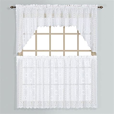 lace curtains bed bath and beyond new rochelle lace window curtain tier pairs bed bath