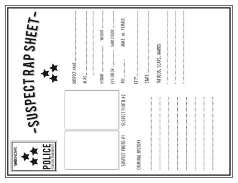 fingerprint paper template officer s rap sheet free printable coloring pages
