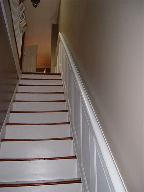 Stair Wainscoting by Hold On Tight Staircase Wainscoting And Handrail Project