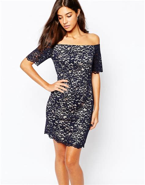 warehouse warehouse lace bardot pencil dress at asos