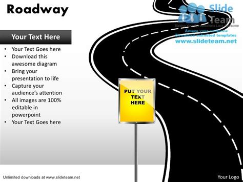 powerpoint template road editable road map power point slides and road map