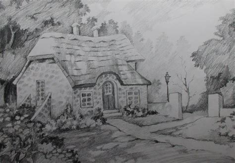 how to draw landscape how to draw a house landscape with pencil step by step