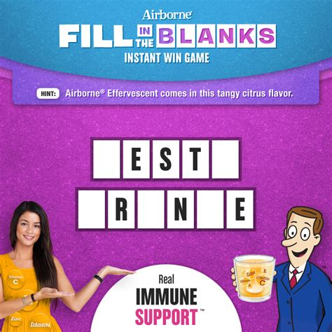 Instant Win Money Games - thrifty momma ramblings airborne fill in the blank instant win game