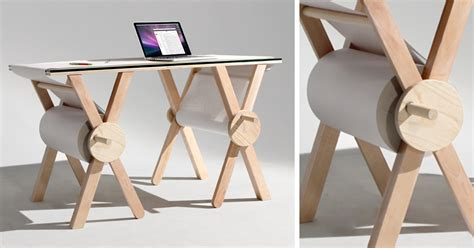 Desk With Paper Roll by Analog Memory Desk Uses 1 100 Yard Roll Of Paper To Save