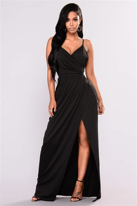 Dress Slit rivka high slit dress black