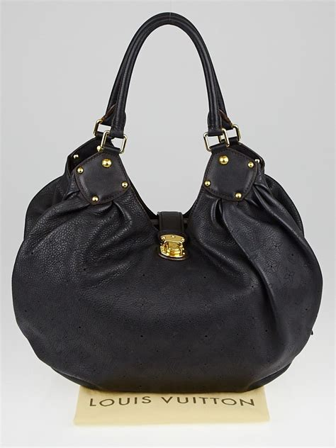 louis vuitton black monogram mahina leather  bag yoogi