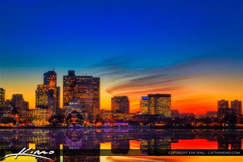 boston sunset reflection skyline buildings