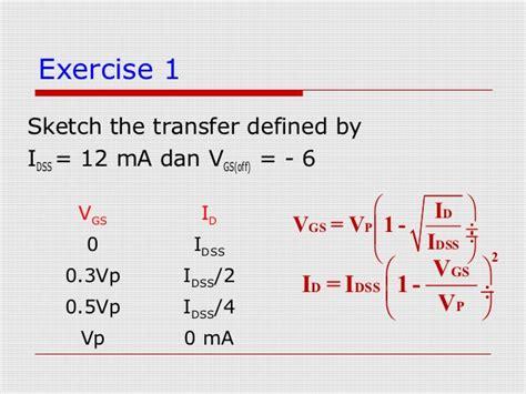 fet transistor equations jfet