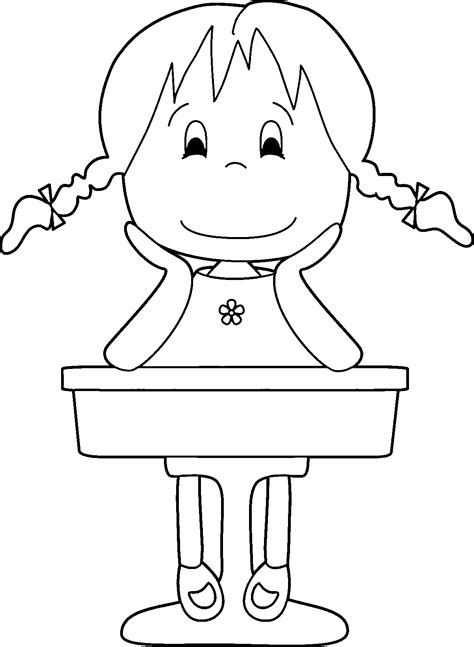 pictures girl coloring schoolgirl 1st grade school girl coloring page wecoloringpage