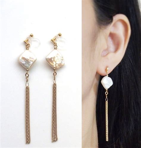 Anting Korea Circle Pearl Tassel Earrings bridal freshwater pearl invisible clip on earrings wedding pearl clip on my style