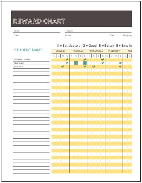 reward chart templates for ms excel word excel templates