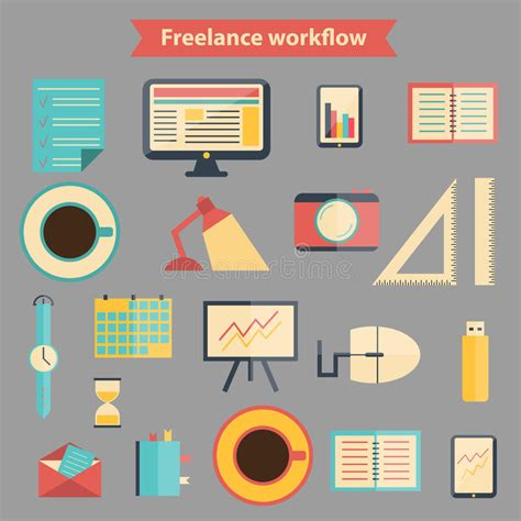 icon design workflow set of flat freelance workflow icons stock vector image