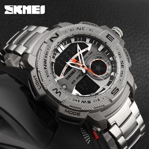 jam tangan cowok invicta skmei jam tangan analog digital pria ad1121 silver