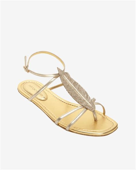 sergio gold sandals sergio crystalized feather flat sandal gold in gold