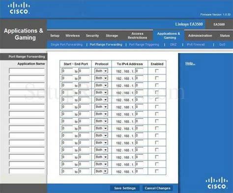 range forwarding cisco linksys ea3500 forwarding guide