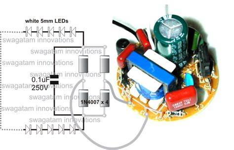 Converting A Dead Cfl Into An Led Tubelight Circuit Idea Led Light Bulb Circuit