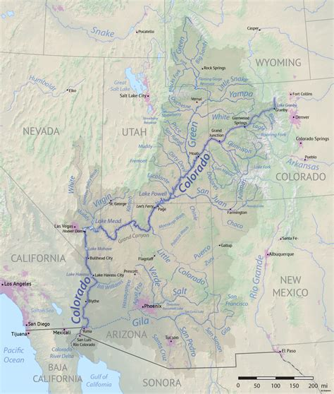 where does the colorado river start and end list of tributaries of the colorado river