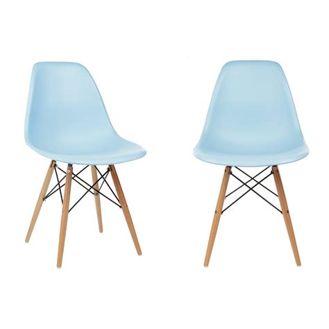 set of 2 eames style dsw molded light blue plastic dining