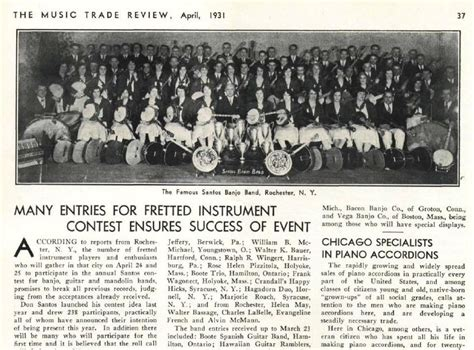 Banjo Giveaway - music trade review 1931 banjo contest gut strings and convention of american guild