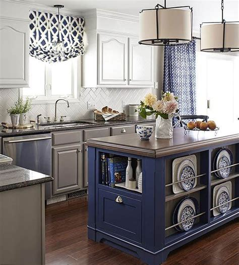 white and blue kitchen decor white kitchen cabinets blue island quicua