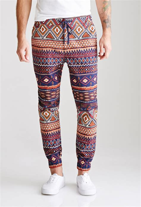 Marcello Navy Tribal forever 21 tribal print drawstring joggers for lyst