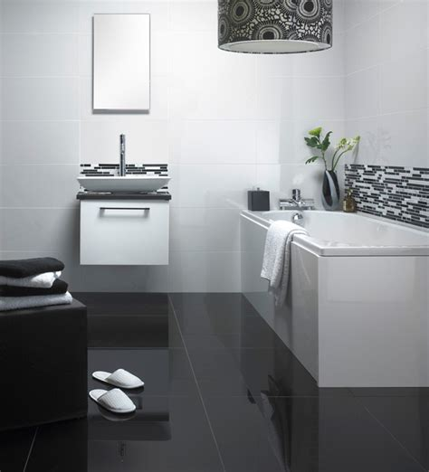 white bathroom black floor 30 ideas on using polished porcelain tile for bathroom floor