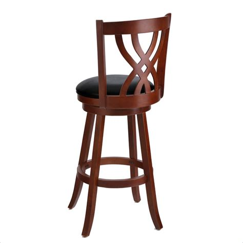 Wood Swivel Bar Stool Techni Mobili 29 Quot Wooden Designer Swivel Mahogany Bar Stool Ebay