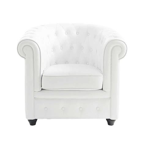 button armchair in white chesterfield maisons du monde