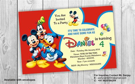 Birthday Invitation Card Mickey Mouse Birthday Party Invitation Card Invite Personalised Return