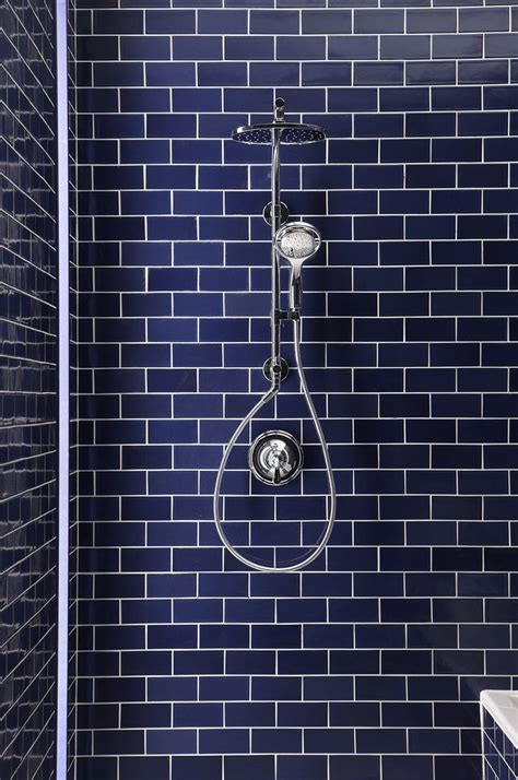 navy bathroom tiles blue subway tile baths 4 pinterest