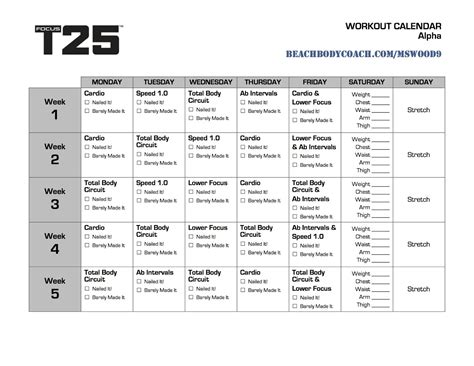 Printable T25 Schedule | michelle is living well focus t25 workout calendar