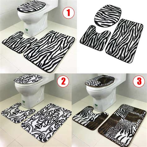 black and white printed pattern toilet seats 3pcs set lid toilet seat cover pedestal rug bathroom mat