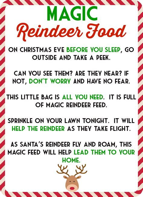 magic reindeer food poem free printable also includes