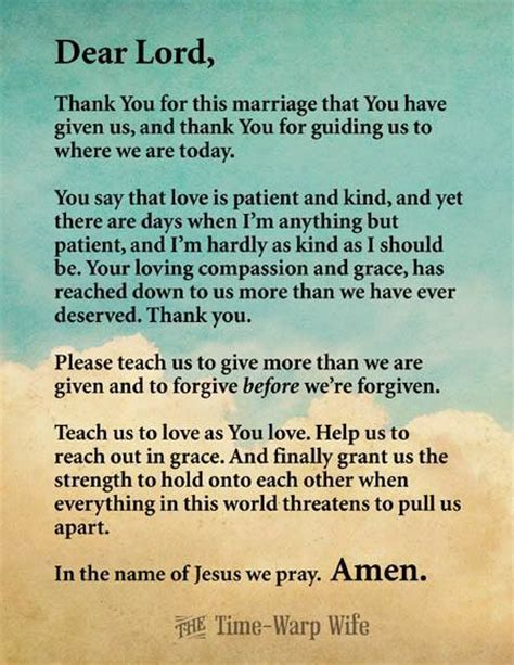 Wedding Anniversary Prayer Quote by A For My Home Free Printable Marriage Prayer