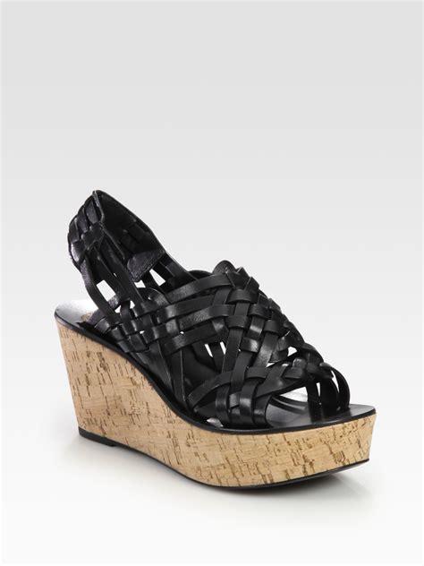 burch sandals wedge burch killian cork wedge slingback sandals in black