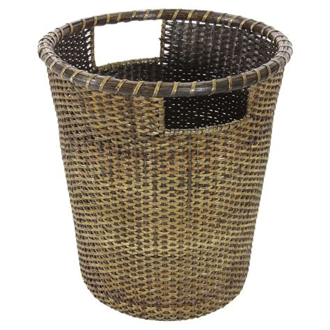 oriental furniture rattan small waste basket bathroom